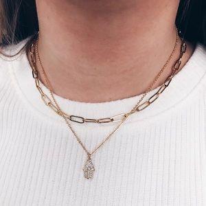 18k Gold Filled Dainty Hamsa Hand Necklace